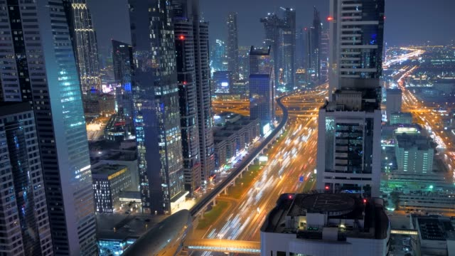 Time Lapse of aerial view of modern business metropolis