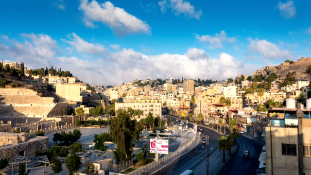 time lapse of amman city, the capital of jordan - państwo lokalizacja geograficzna filmów i materiałów b-roll