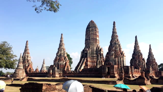 Time Lapse of archaeological site at Wat Chaiwatthanaram Ayutthaya Thailand video