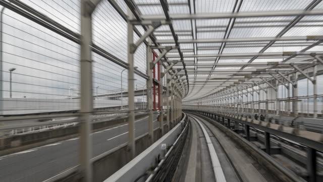 stockvideo's en b-roll-footage met time-lapse van geautomatiseerde monorail in japan - uitwisselen