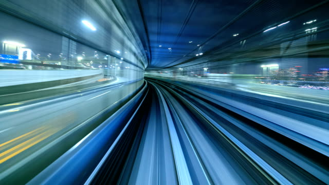 Time lapse of automatic train moving to tunnel, Tokyo, Japan