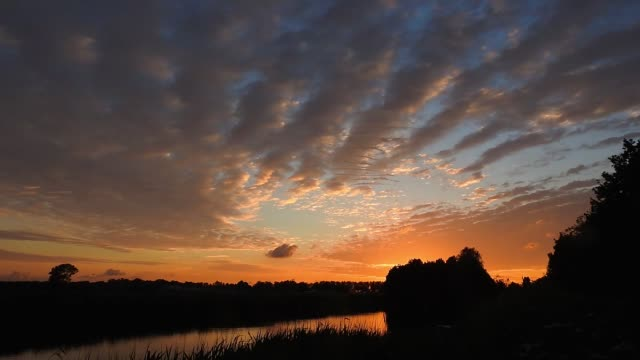 Time lapse of beautiful altocumulus clouds at sunset