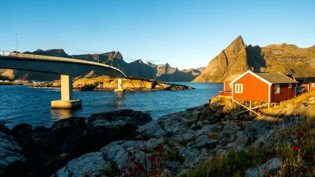 Zeit erlöschen der schönen Landschaft auf Lofoten Island, Norwegen – Video
