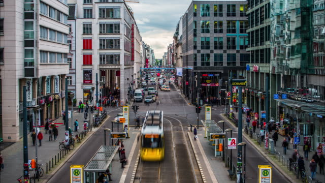 Time Lapse of Berlin Friedrichstrasse Shopping Street in Germany video