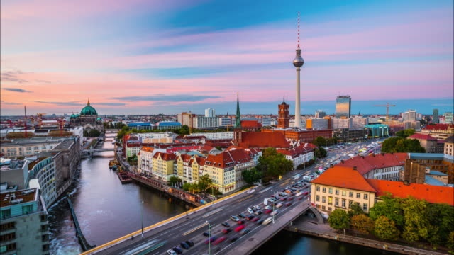 Time Lapse of Berlin Skyline at Sunset, Germany – Video