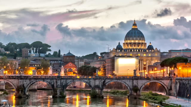 Time lapse of blue hour on Vatican with zoom effect video