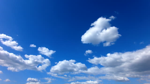 Time lapse of blue sky with clouds in the day