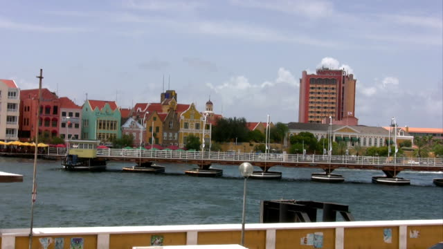 Time Lapse of boatbridge closing 2 Time lapse of the closing boatbridge in Willemstad Curaçao curaçao stock videos & royalty-free footage