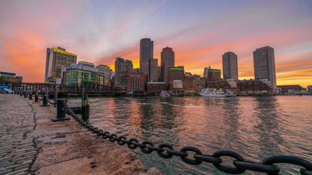 4K Time Lapse of Boston Harbor cityscape from Fan Pier Park in Massachusetts, United States