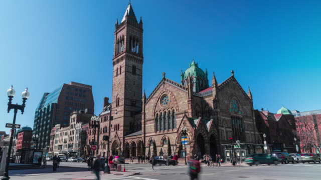 4K Time lapse of Boston Old South Church in in Massachusetts, United States