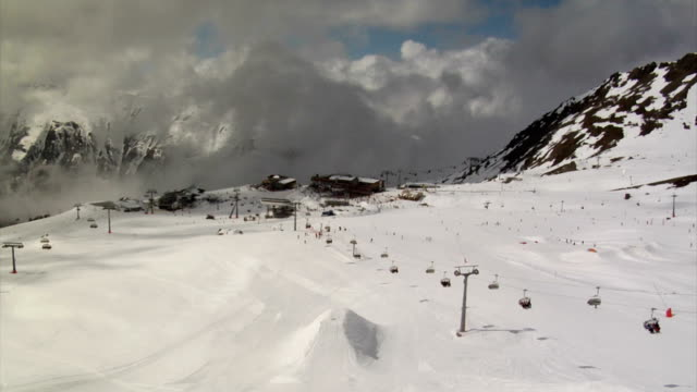 Time lapse of busy european ski resort video