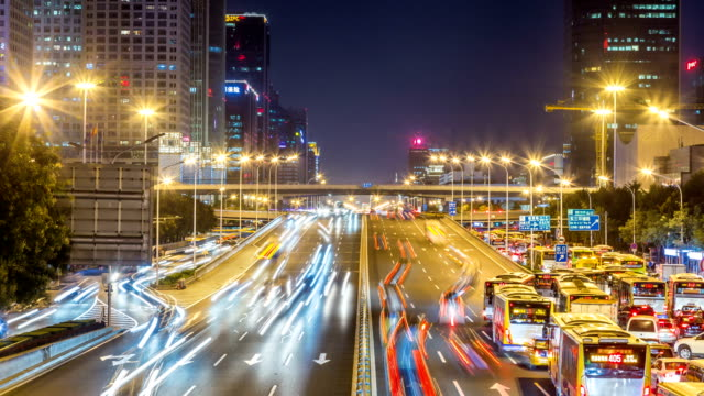 Time lapse of busy freeway traffic at night in beijing city,china video