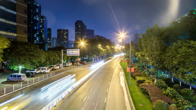 Time lapse of busy traffic at night in chongqing china video