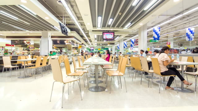 Time lapse of cafeteria in the supermarket Time lapse of cafeteria in the shopping Mall cafeteria stock videos & royalty-free footage