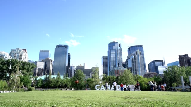 time lapse of calgary skyline. canada 150 - canada day stock videos & royalty-free footage