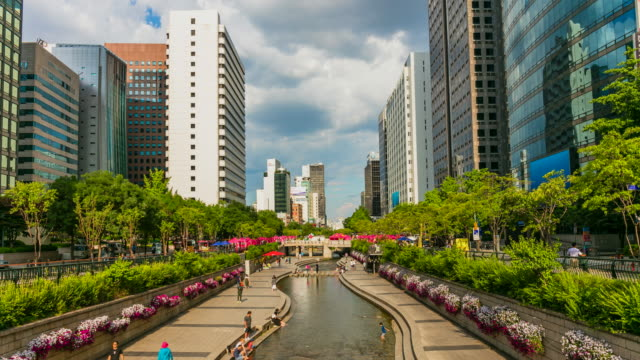 Time Lapse of Cheonggyecheon Stream Seoul South Korea Time Lapse of Cheonggyecheon Stream Seoul South Korea south korea stock videos & royalty-free footage