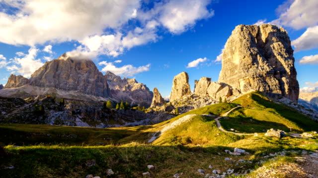 Time lapse of Cinque Torri mountain peak at sunset, Dolomites Alps, Italy video