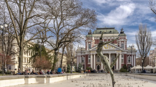 Time lapse of city garden & Ivan Vazov National Theatre in Sofia, Bulgaria