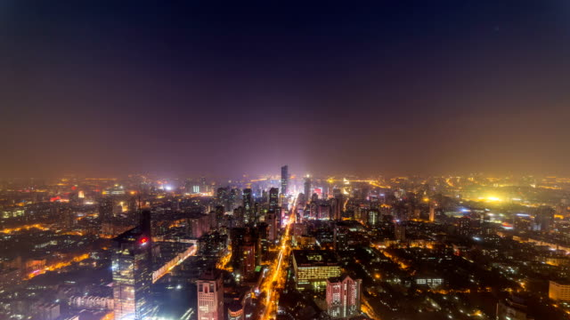 Time lapse of cityscape at night of nanjing,china video