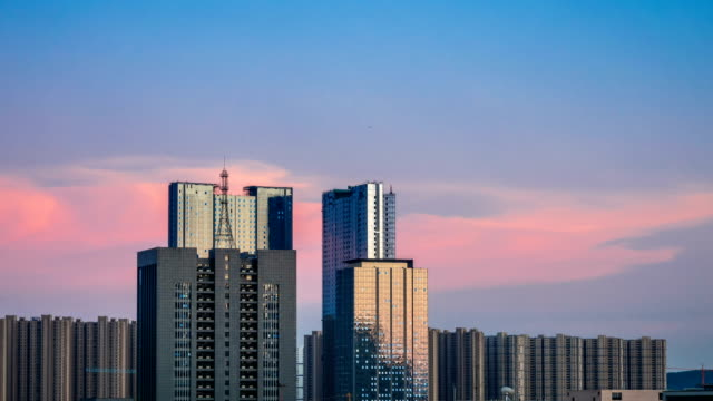 Time lapse of cityscape in nanjing city,china ,sunset time video