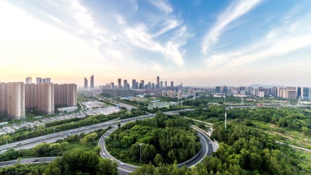 Time lapse of cityscape in nanjing city,Hexi new town ,sunset,china video