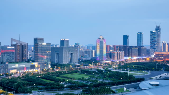 Time lapse of cityscape of nanjing Hexi new town from day to night,china video