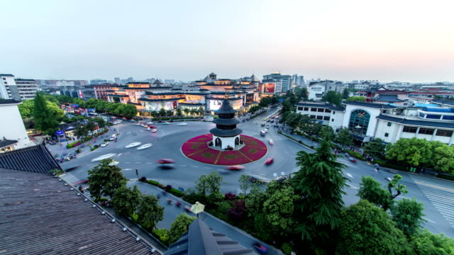 Time lapse of cityscape  of yangzhou,landmark  wen chang pavilion  ,china video