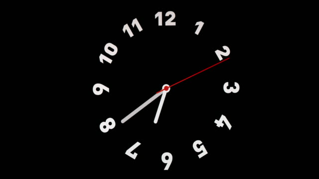 Time lapse of clock on black background and movement of clock hands