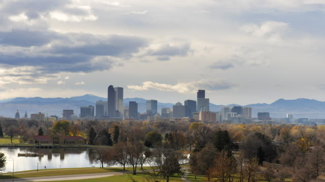 Time Lapse of Cloud at Sunset Over Denver Downtown Skyline