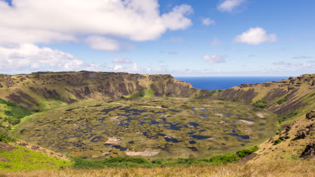 Time lapse of Clouds flow over the Volcano Rano Kau at  Rapa Nui, Easter Island Chile Time lapse of Clouds flow over the Volcano Rano Kau at  Rapa Nui, Easter Island Chile big island hawaii islands stock videos & royalty-free footage