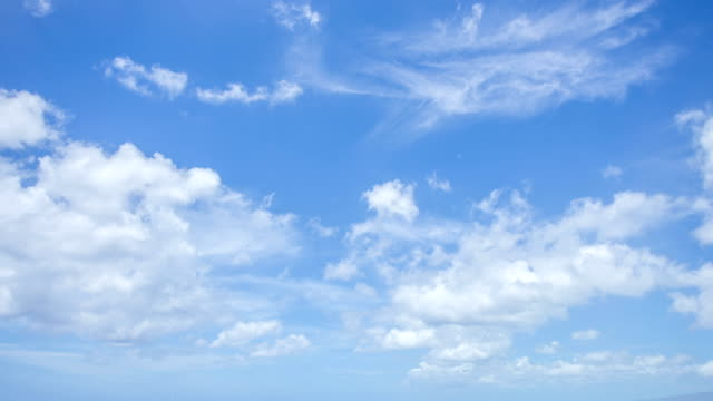 HD Time lapse of clouds moving with clear blue sky background video