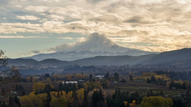 Time Lapse of clouds rolling over Mt Hood in Hood River Oregon Fall Season 4k