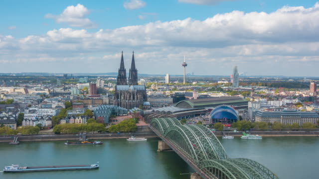 time lapse of cologne city skyline - cathedrals stock videos & royalty-free footage