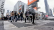 istock Time lapse of crosswalk at four-way intersection near Dundas Square in Downtown Toronto 1208909995