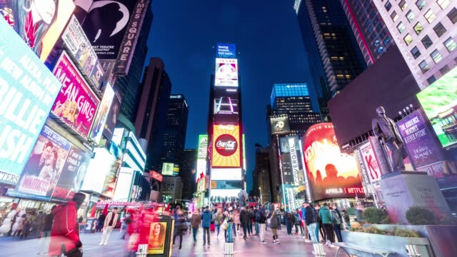 4K Time lapse of crowd anonymous tourist walking and visiting Times Square area at twilight time, New York, United states, USA, Travel and landmark with business concept Time lapse of crowd anonymous tourist walking and visiting Times Square area at twilight time, New York, United states, USA, Travel and landmark with business concept, 4k clip square composition stock videos & royalty-free footage