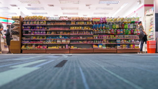 Time Lapse of crowd shopping at convenience store 4K Time Lapse video of crowd shopping at convenience store inside airport terminal snack stock videos & royalty-free footage