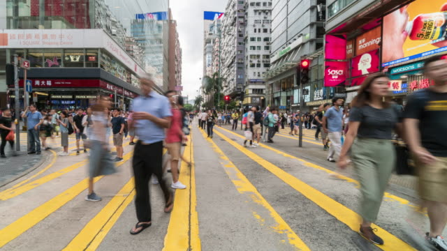 4K Time lapse of Crowd Unrecognizable Protester walking around Tsim Sha Tsui street area, Hong Kong