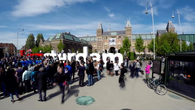 Time lapse of crowds moving in Amsterdam - motion blur video