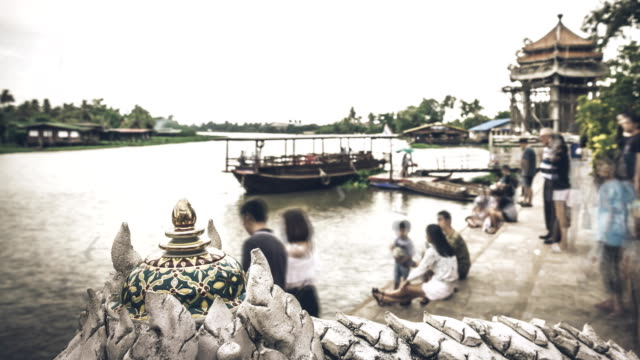 Time lapse of Crowds People of Commuters river boat Bangkok, Thailand
