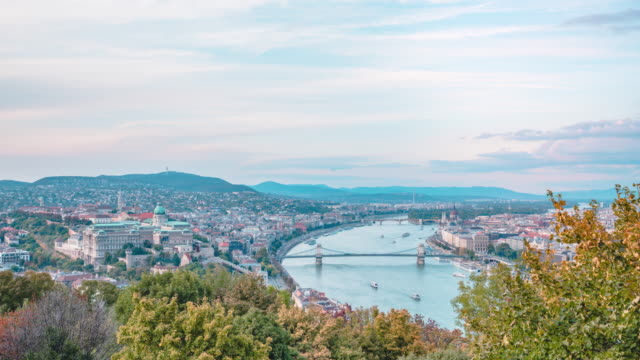 Time lapse of Danube river and Chain Bridge in morning in Budapest in Hungary
