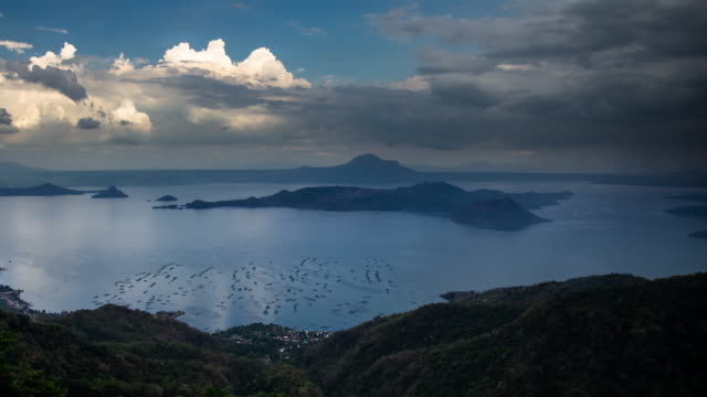 Time Lapse of Dramatic Clouds Over Lake Taal and Volcano Island video