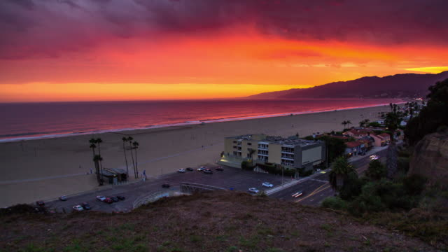 Time Lapse of Dramatic Sunset at Palisades Park, Santa Monica