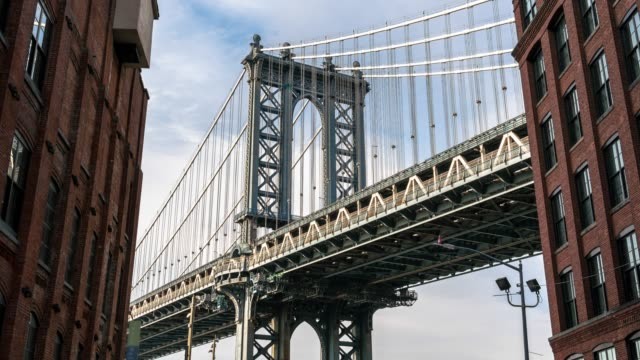 4K Time lapse of Dumbo view point which can see Manhattan bridge with old brick building in new york city, USA downtown skyline, Architecture and building with tourist concept.