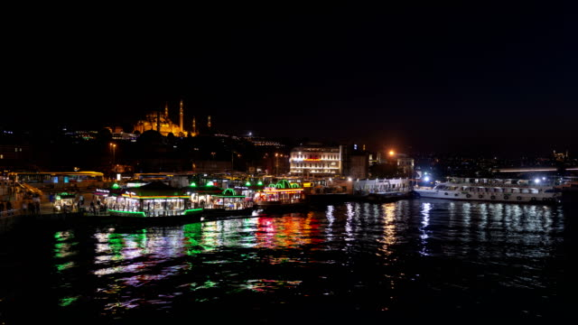 4K Time Lapse of Eminonu District in Istanbul at night video