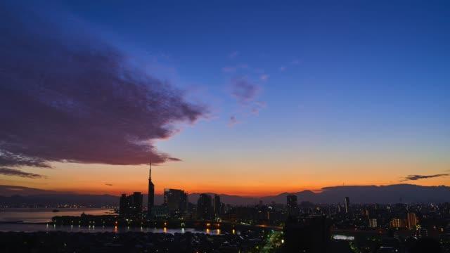 time lapse of Fukuoka city in Japan - video