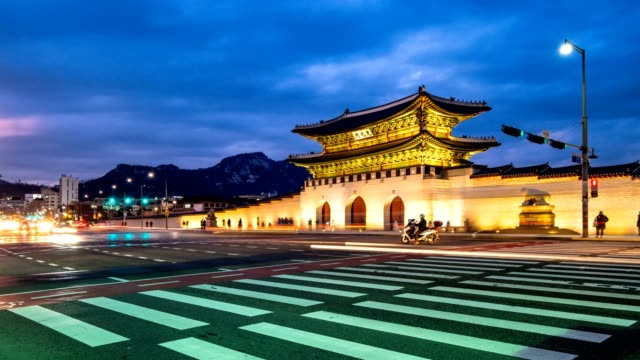 Time lapse of Gwanghwamun Gate and traffic at night in Seoul,South korea. video