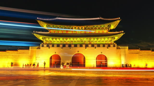 4K Time lapse of Gyeongbokgung palace and traffic in Seoul of South korea 4K Time lapse of Gyeongbokgung palace and traffic in Seoul of South korea gwanghwamun gate stock videos & royalty-free footage
