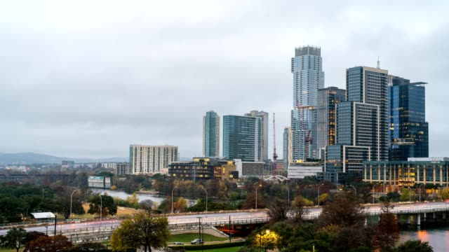 Time Lapse of Heavy Fog Moving Toward Downtown Austin Tall Buildings Early in the Morning