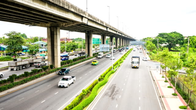 Time lapse of Highway traffic under Toll Way in Bangkok, Thailand video