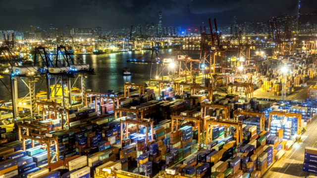 Time lapse of Hong Kong Container Terminal at Night - Hong Kong Kwai Tsing Container Terminals is one of the busiest ports in the world.